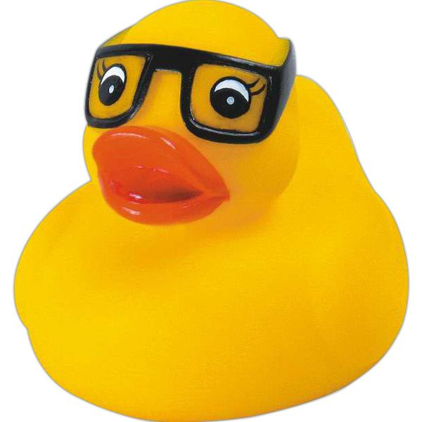 Rubber study duck... Rubber study duck. This duck has black glasses on its eyes. This duck is for the straight A student in your life! Squeaking toy, balanced for floating.