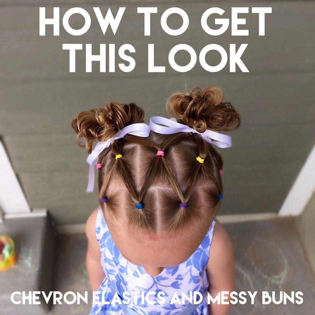 How to do chevron elastics and messy buns  Toddler hair ideas