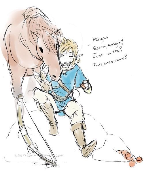 Awwww Link and Epona Breath of The Wild   Breath of The ...