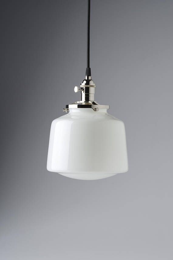 School House Pendant Light White Glass Globe Drum Style Fixture Welcome To Olde Brick Lighting