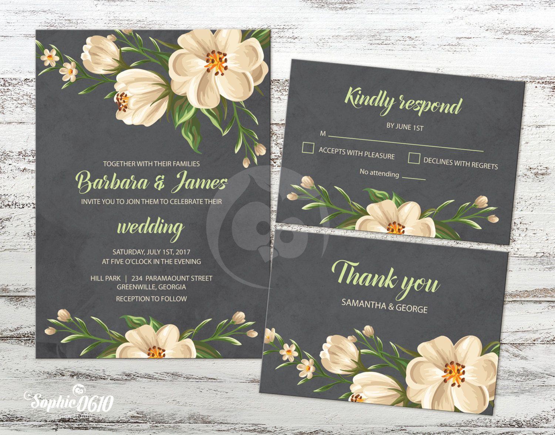 Printable floral vintage black wedding invitation Digital
