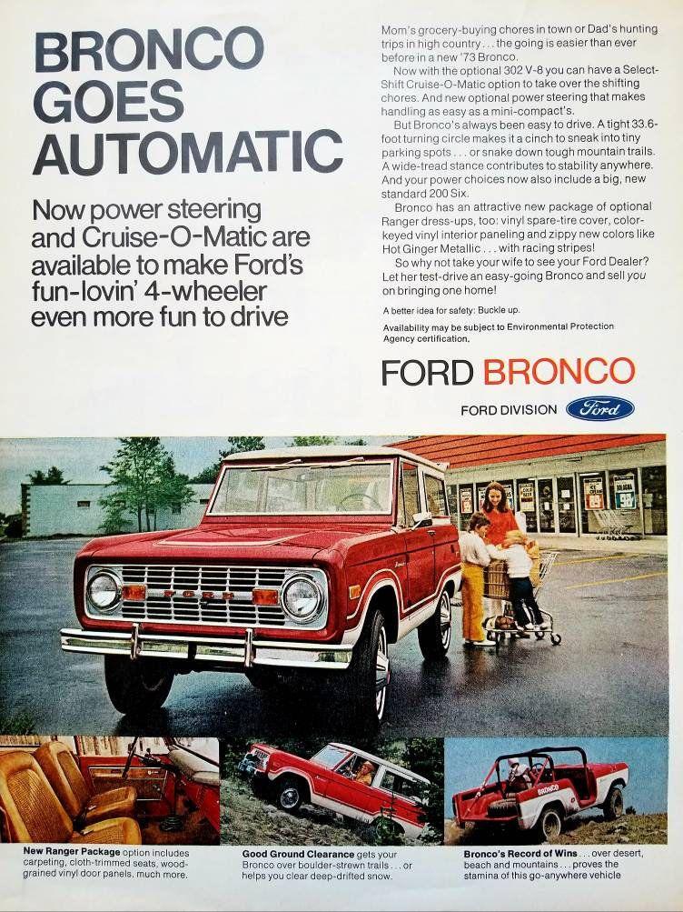 1972 Ford Bronco Vintage Advertisement Classic Car Ad Automotive