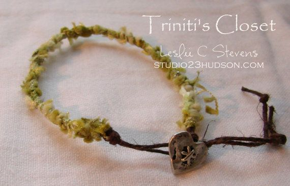 Green Fiber Hemp Bracelet by TrinitisCloset on Etsy, $12.50