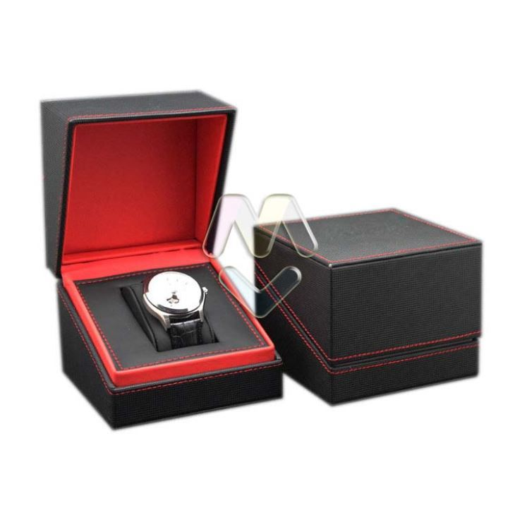 09cc5c68583c Exquisite Handmade Black And Red PU Leather Watch Boxes For Men, Paper  Packaging Box For Watches Gift