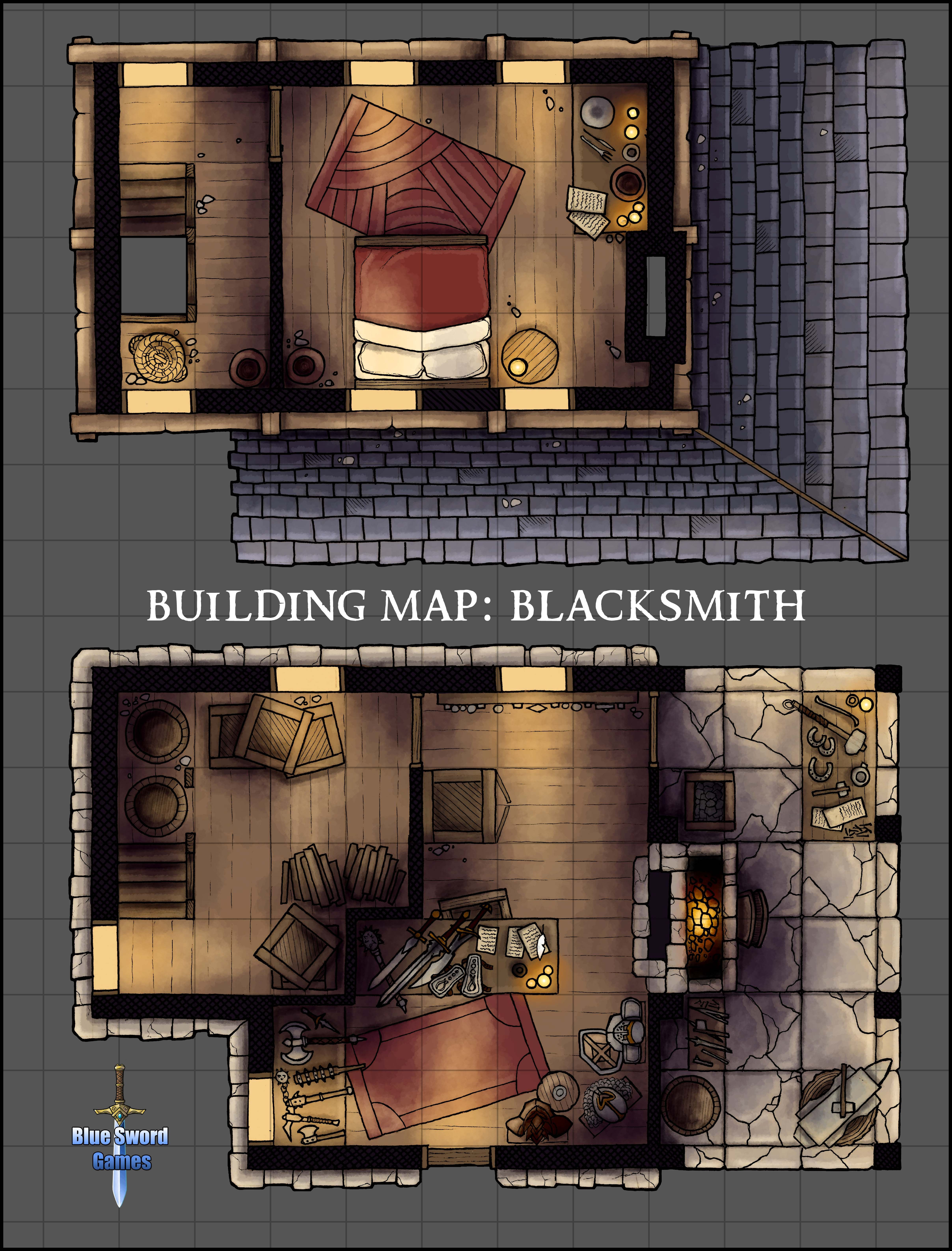 blacksmith Building map, Fantasy map