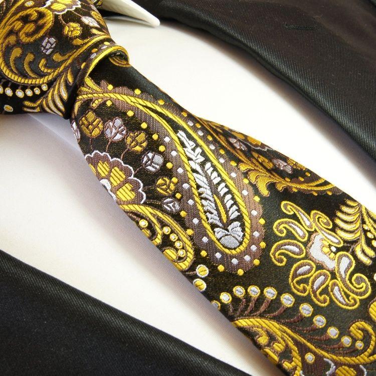 Yellow Paisley Necktie on Black . Paul Malone . 100Silk (550)