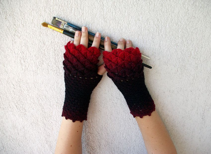 Crocheted crocodile stitch mittens fingerless gloves - black and red ...