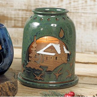 Green River Pottery Candle Cover ~ With Cabin