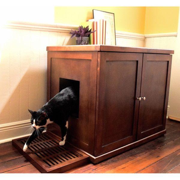 Decorative Litter Box The Refined Feline's Hidden Kitty Enclosed Wooden Furniture Litter