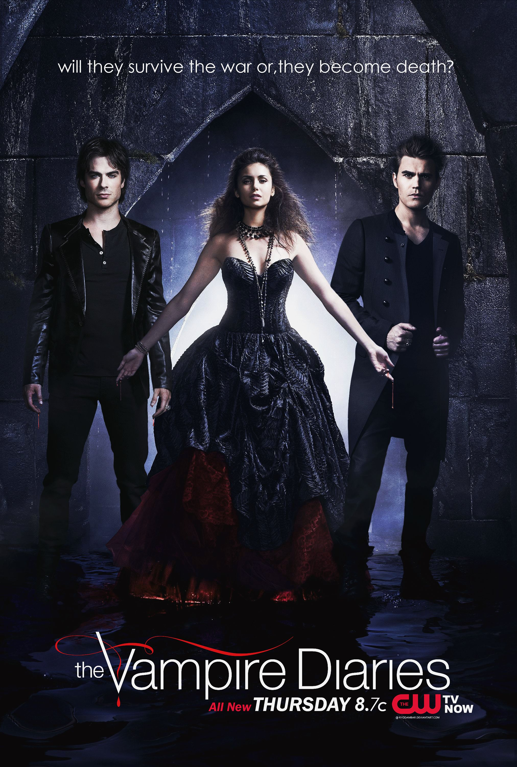 the vampire diaries season 1 posters tvd iv survive or die promo poster the vampire diaries. Black Bedroom Furniture Sets. Home Design Ideas