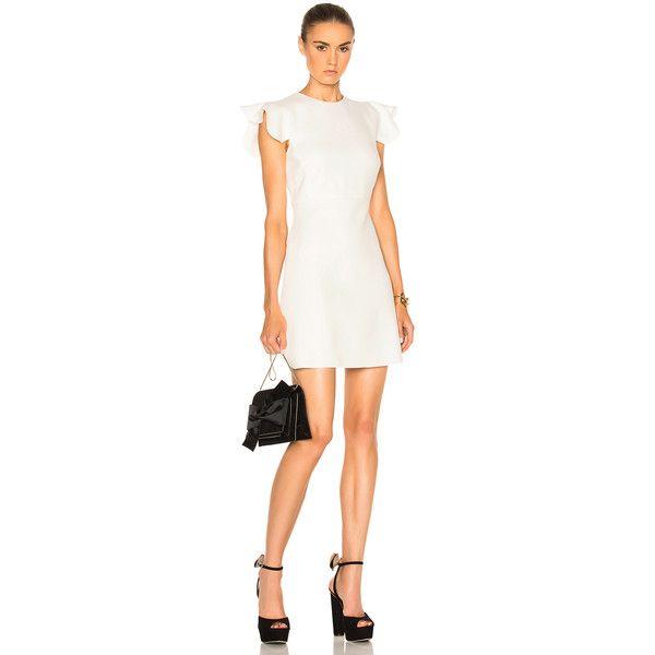 Giambattista Valli Ruffle Sleeve Mini Dress (233480 ALL) via Polyvore featuring dresses, short dresses, mini dress, short silk dress, white mini dress and silk dress