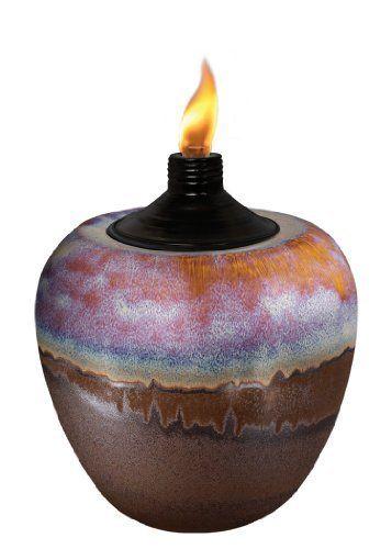 Lamplight Tiki 1111445 Small Sunset Raku Ceramic Tabletop Torch By 10 80 Roximately