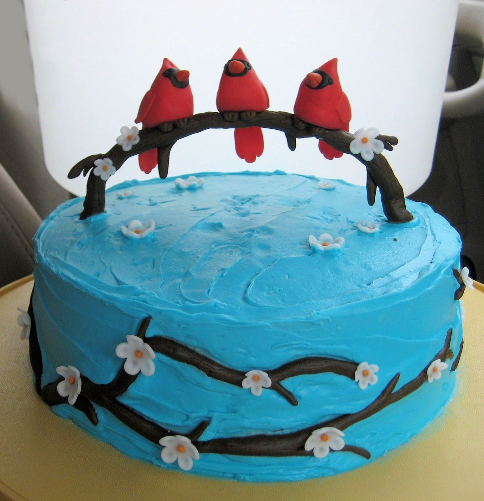 Incredible Cardinal Cake I Like The Birds On The Tree Limb With Images Personalised Birthday Cards Cominlily Jamesorg