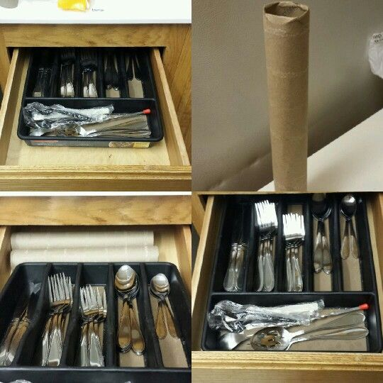 My silverware always slips to the back of the drawer. I just use 2 paper towel rolls behind it and no more slipping!