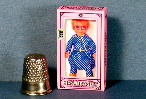 Mrs Beasley Doll Box -  Dollhouse Miniature 1:12 scale - Dollhouse Accessory - 1960s Dollhouse girl nursery  -PLEASE read the description! #dollhouseaccessories