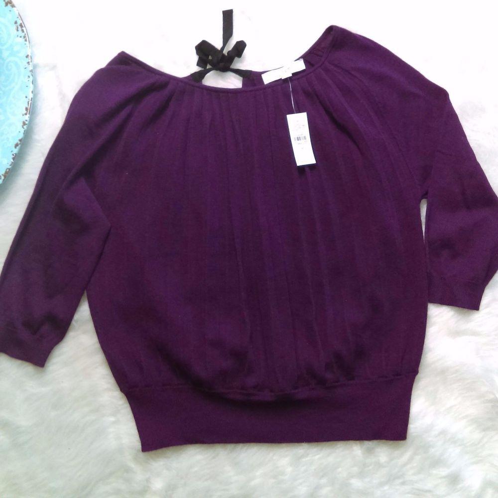 Ann Taylor LOFT Purple Pleated  Tie Back Sweater Top Blouse SZ M NWT $59.50 #AnnTaylorLOFT #TieBackSweaterTop #Work