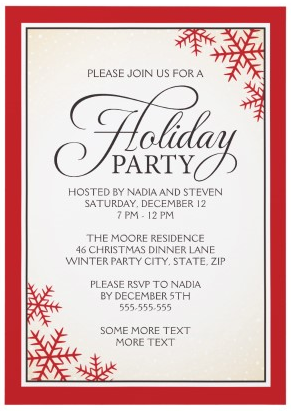 Elegant Christmas Holiday Party Invitation With Red Snowflakes