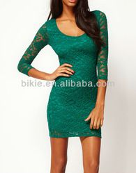 Short green Lace Long Sleeve Cocktail Party Dresses Formal Evening Prom Dress