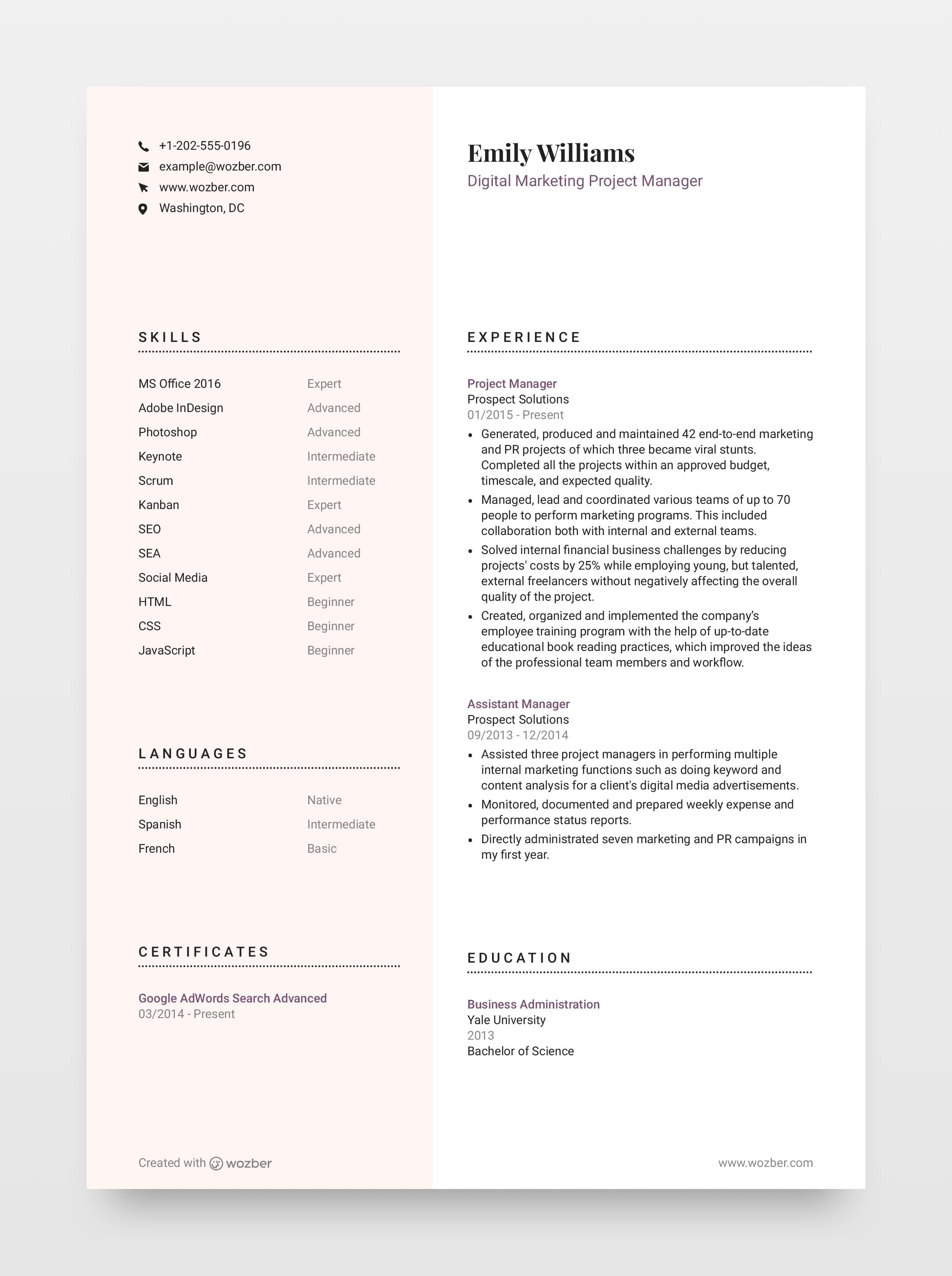 Modern, minimalistic, customizable resume template