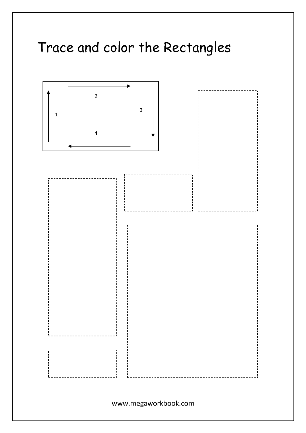 Trace And Color The Shape Rectangle Shapes Worksheets Tracing Worksheets Free Tracing Worksheets Preschool [ 1403 x 992 Pixel ]