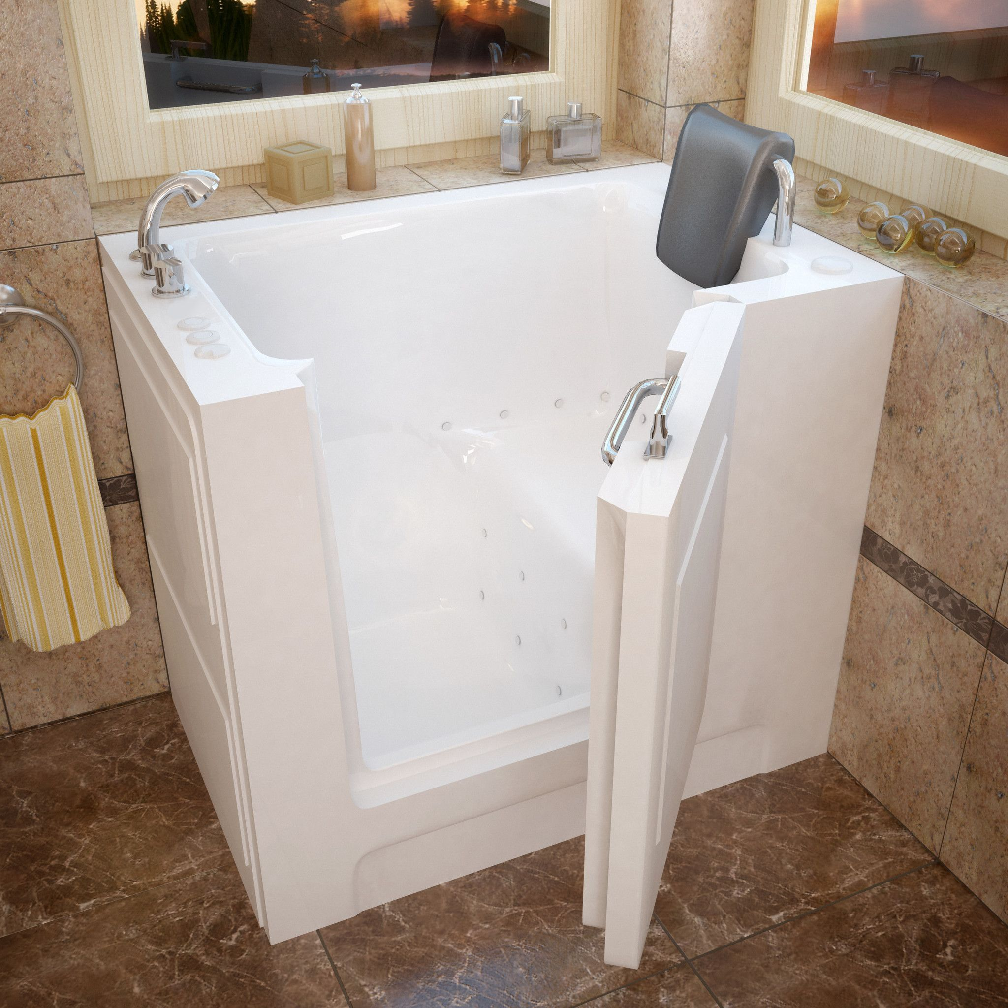 Venzi VZ2739LWA 27x39 Left Drain White Air Jetted Walk-in Bathtub ...