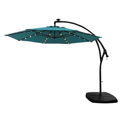 Allen Roth Ar 11ft Blue Offset Patio Umbrella With Base Offset Patio Umbrella Offset Umbrella Patio Umbrellas
