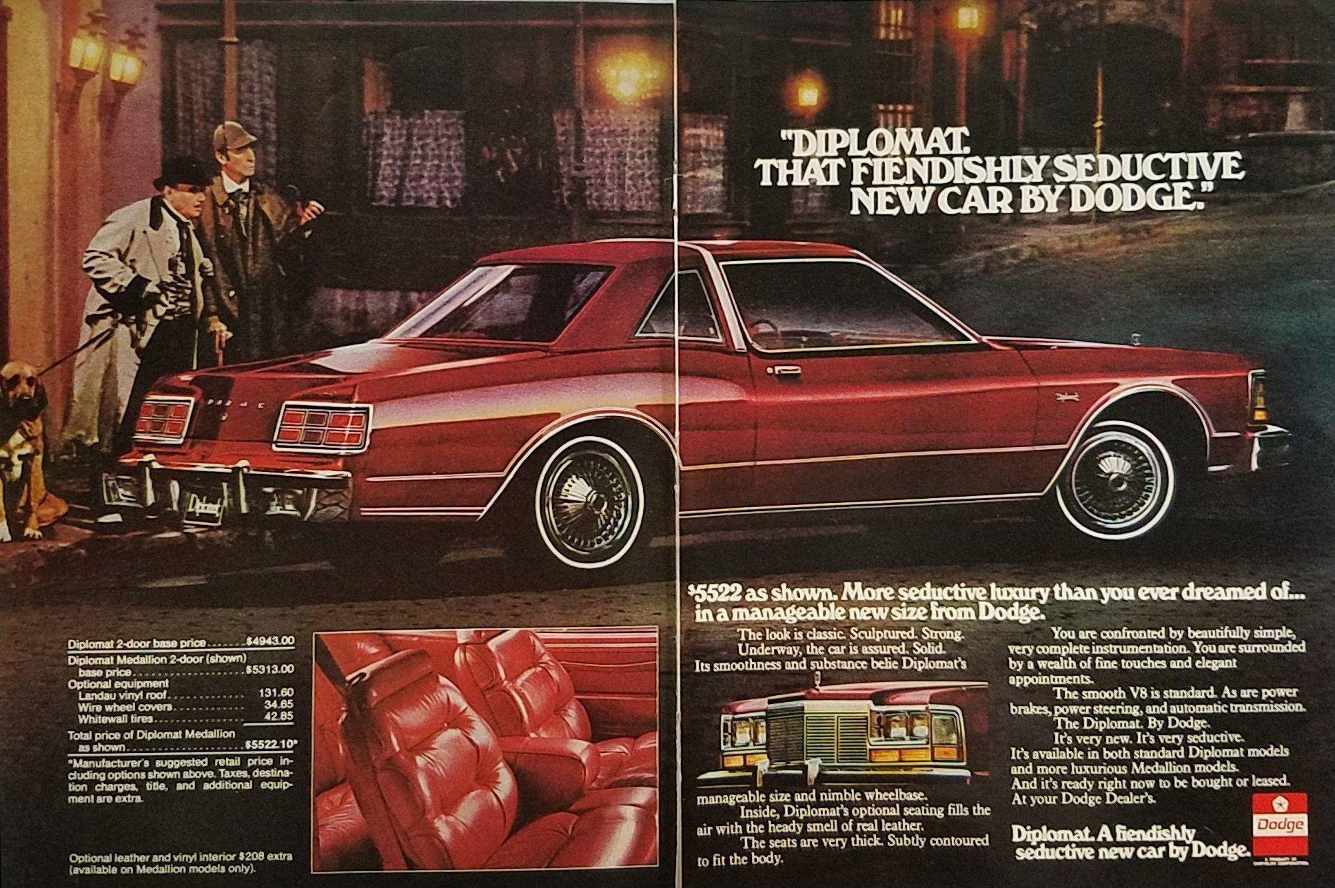 1977 Dodge Diplomat Vintage Ad Sherlock Holmes Bloodhound Dog Vintage Ads Dodge Car Ads