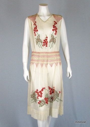 Embroidered white cotton day dress, c. 1920s.