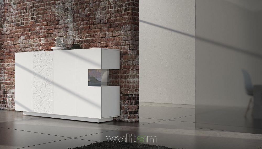 Credenza moderna bianca alta modello 55-1 (larghezza 240 cm, altezza ...