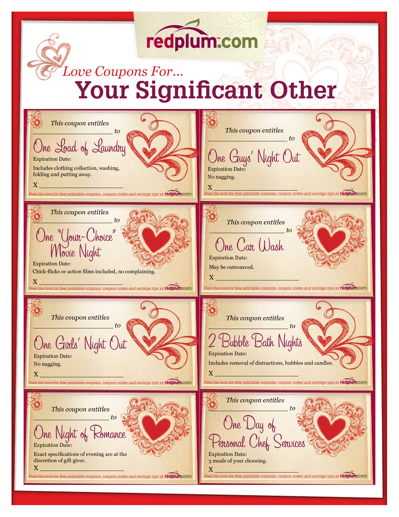 Romantic love coupon template printable love coupons for for Coupon book template for boyfriend