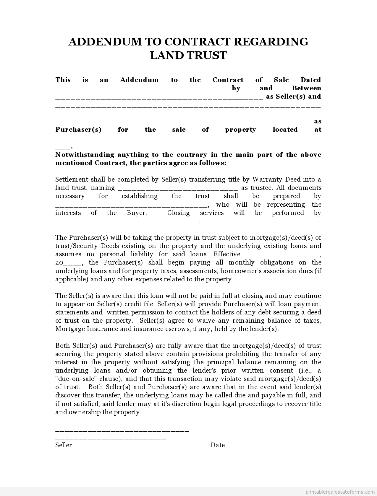 Sample Printable land trust addendum 2 Form Sample Real Estate