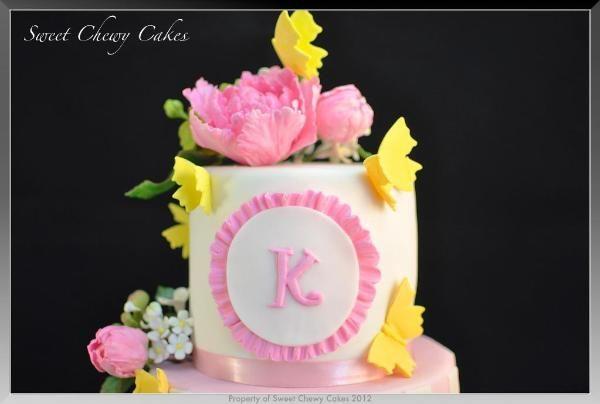 Spring Cake Peonies & Butterflies