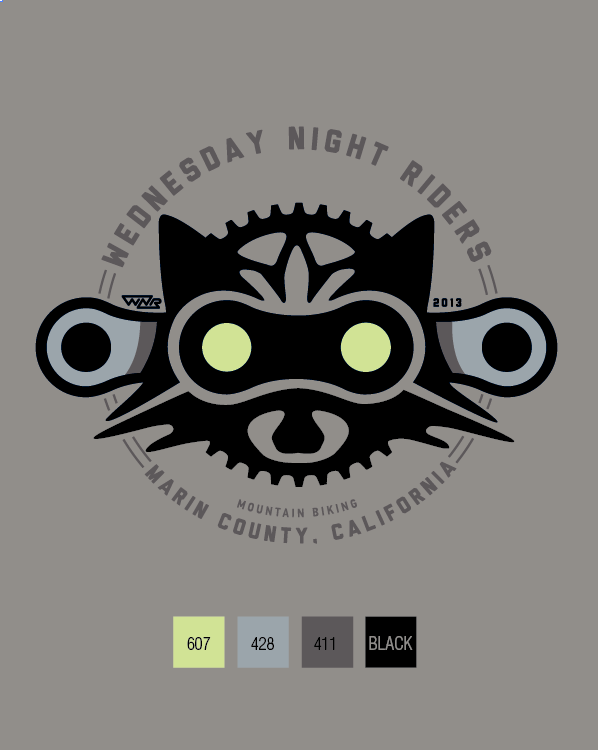 30f66dcd308 Wednesday Night Riders Mountain Biking logo for our riding group. The eyes  glow in the dark.  mountainbikeshirt