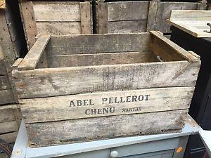Details Sur Art Populaire Ancienne Caisse A Pommes Bois Deco Loft