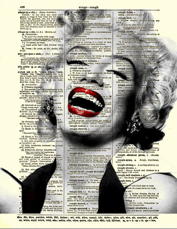 Marilyn Monroe Laughing, Marilyn Monroe Art Print on Antique Dictionary Page, Dictionary Art Print, Mixed Media Collage via Etsy