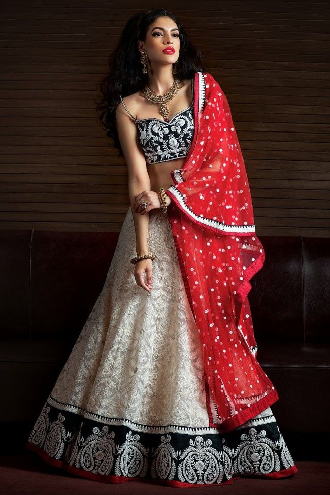 Z Fashion Trend: WHITE AND BLACK DESIGNER LEHENGA WITH RED