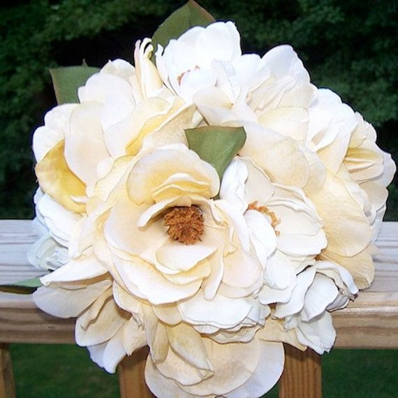 SOUTHERN HERITAGE Ivory Magnolia Brides Bouquet and Bout