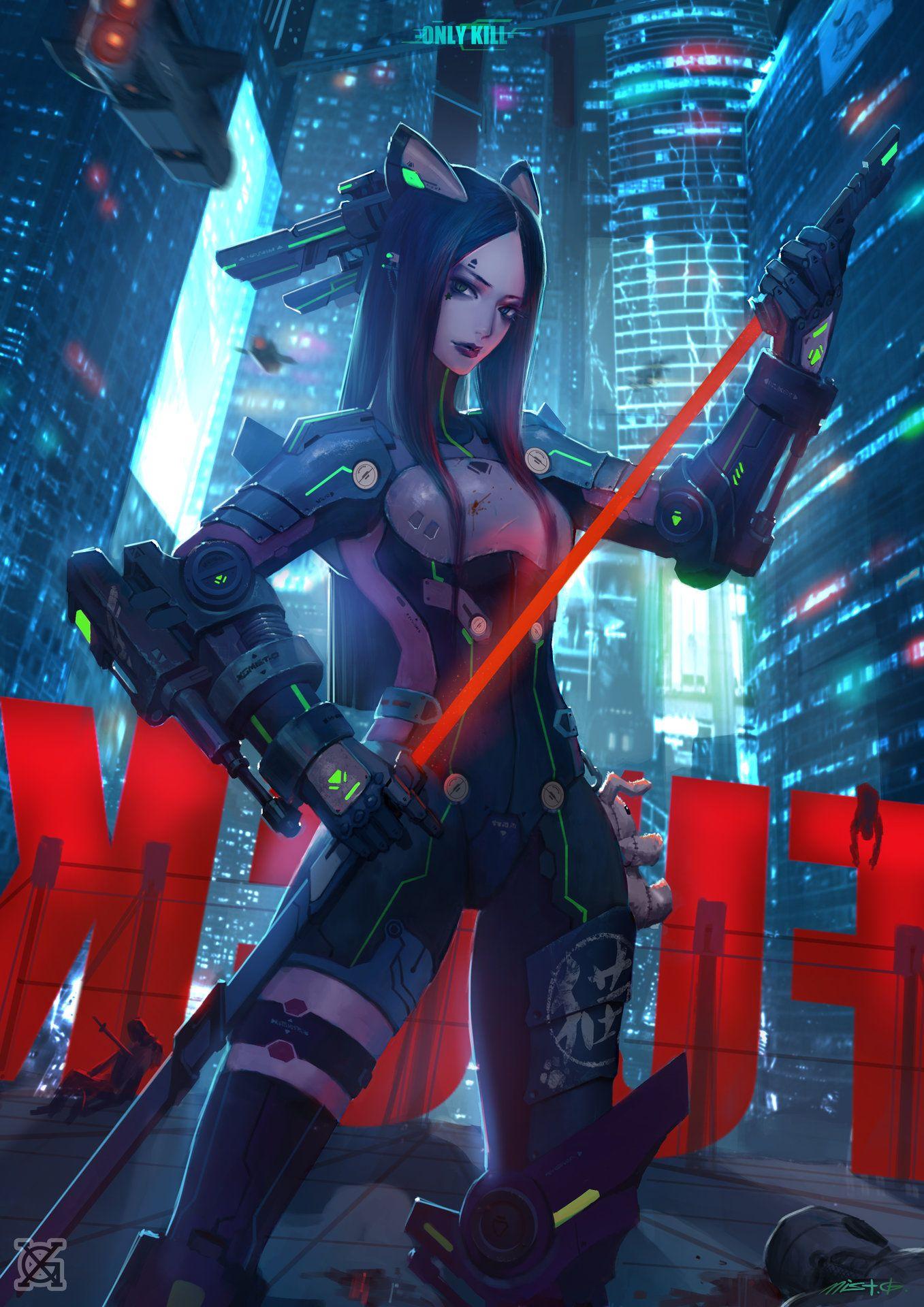 Artstation Only Kill Cat Mist Xg Cyberpunk Character