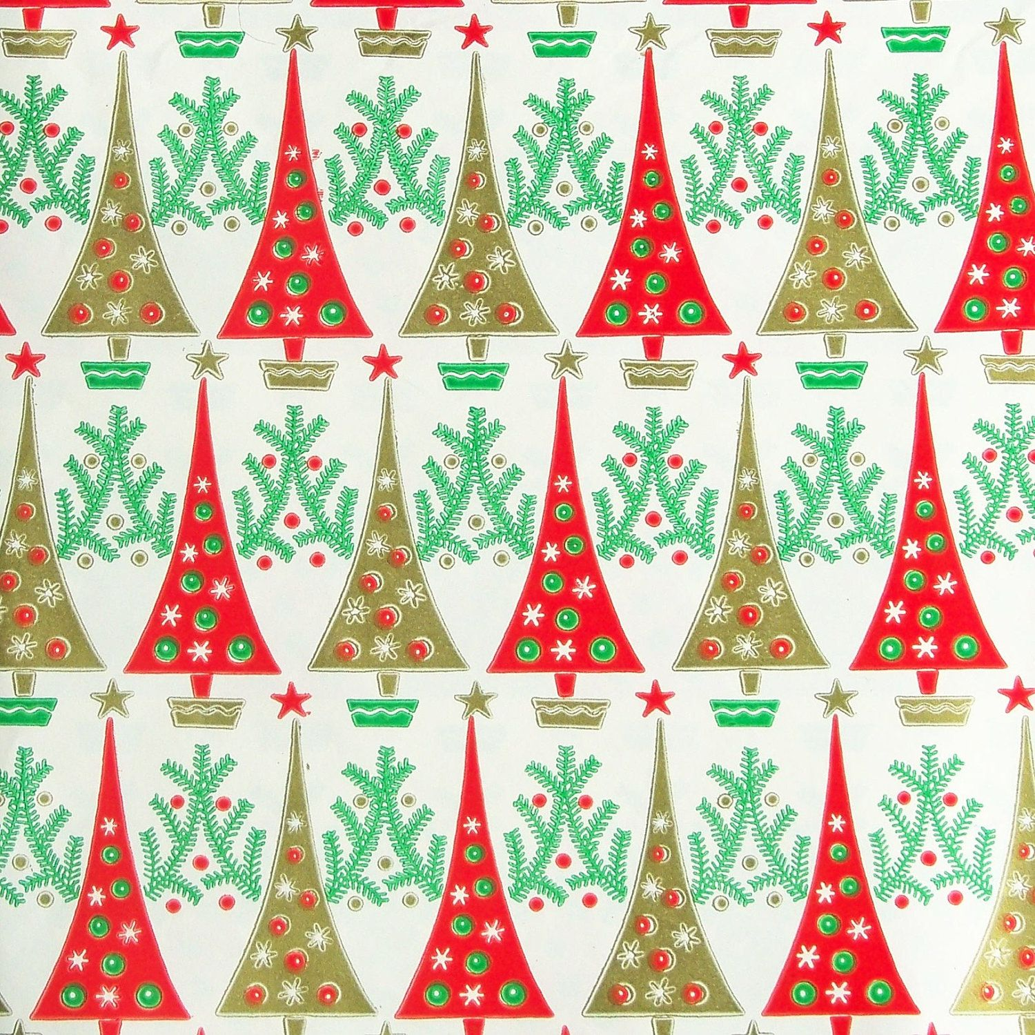 Vintage 1960s Christmas Wrapping Paper Trees Red Green Gold Etsy Vintage Christmas Wrapping Paper Vintage Wrapping Paper Christmas Wrapping