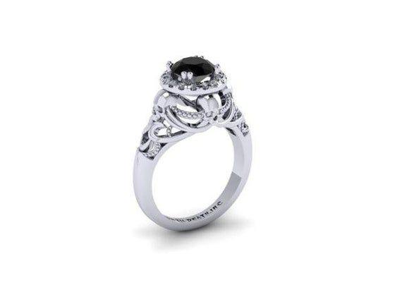 Secret Skull Engagement Ring Sterling silver