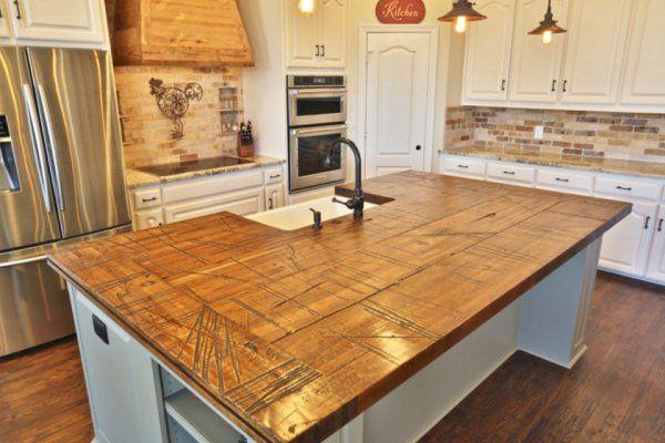 Railcar Plank Center Island Top Home Inspiration Pinterest