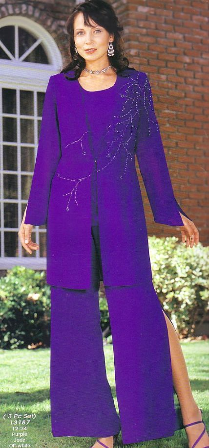 Dressy Pant Suits for Evening purple | Mother of the Bride Casual ...
