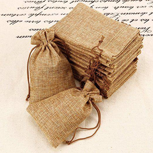 ab02387f0 20pcs Bolsa de Organza Arpillera Bolsitas de yute Bolsitas de tela de saco  para decorar boda bautizo Fiesta 9x14cm: Amazon.es: Hogar