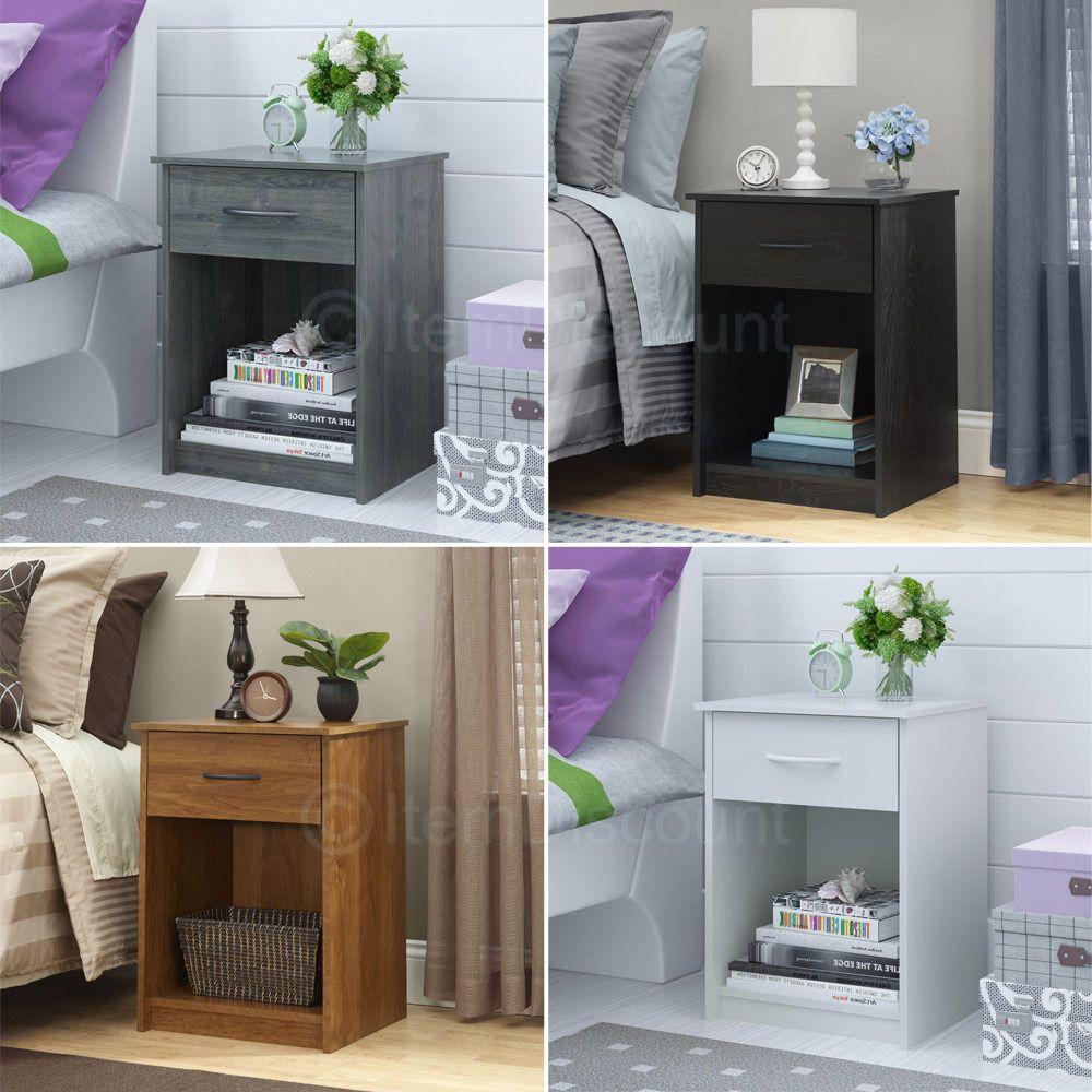"24"" Nightstand End Corner Bed Side Lamp Table Shelf Drawer"