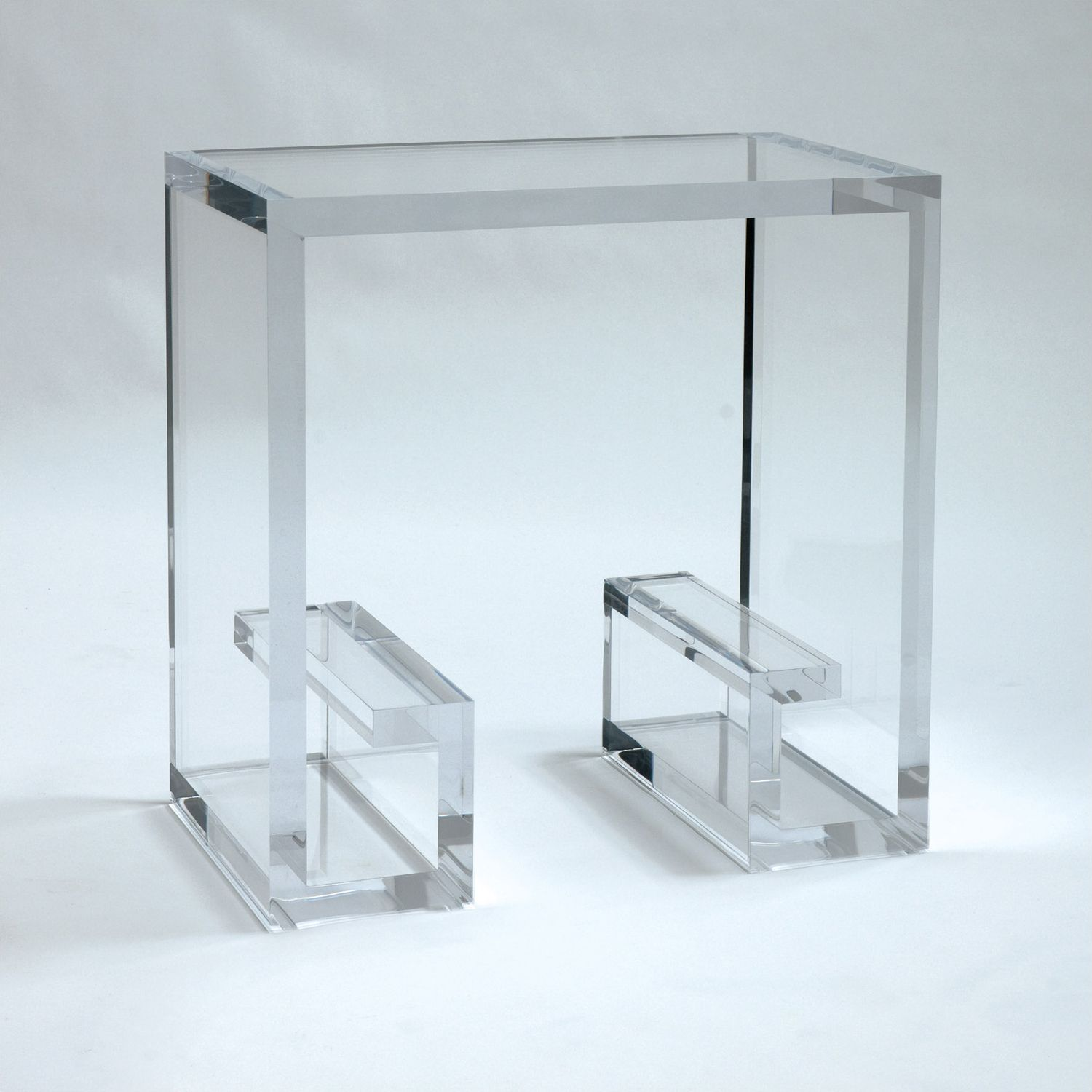 Allan knightacrylic end and occasional tables greek key side allan knight greek key lucite side table two of these side by side would make an excellent coffee table geotapseo Gallery