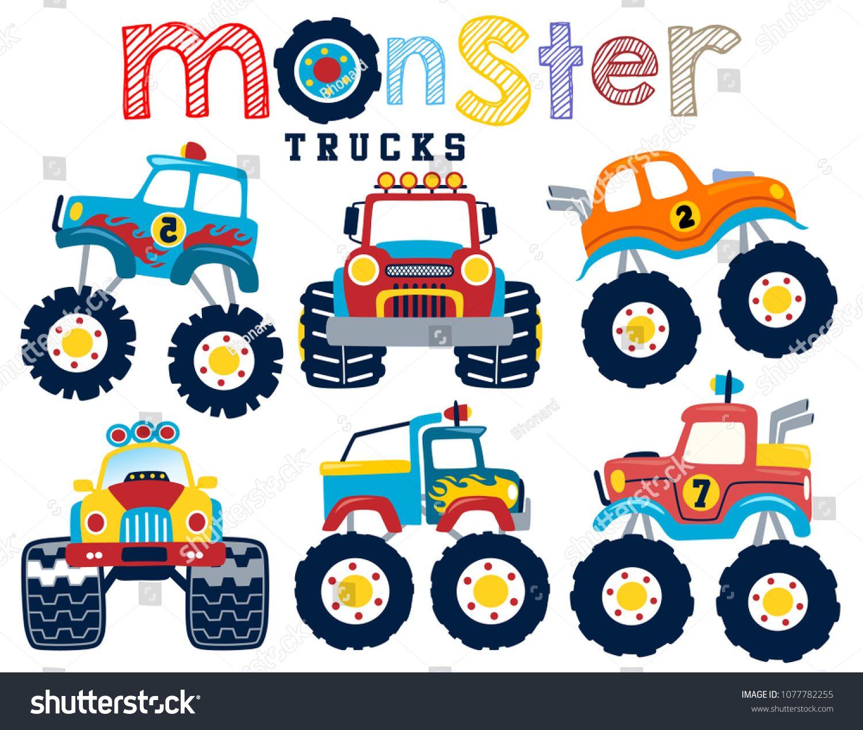 Set Of Monster Truck Cartoon Vector Cartoons Vector Monster
