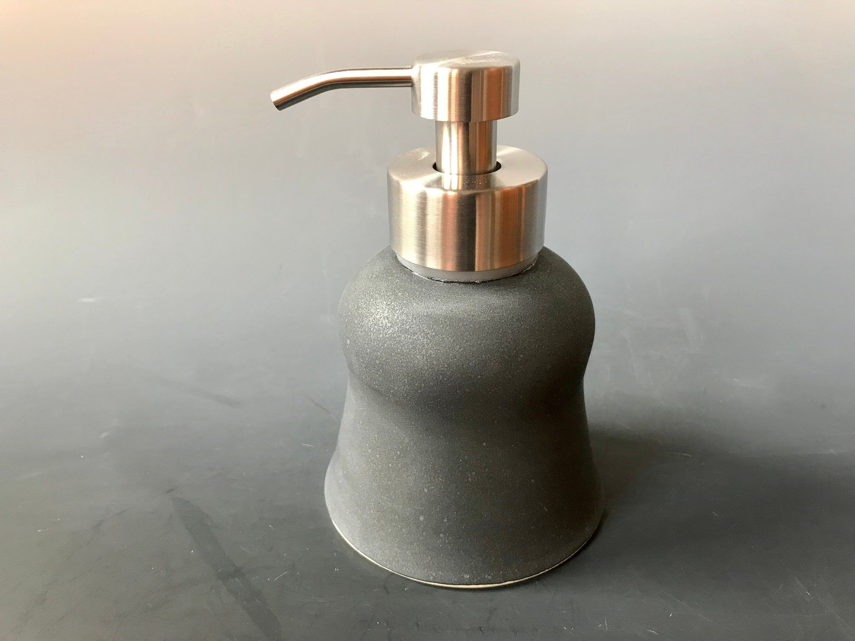 Foaming Pottery Soap Dispenser Matte Black Glaze Stainless Steel