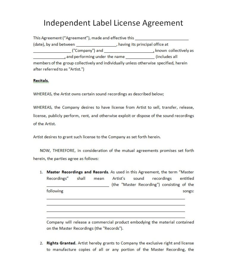 Music Contract Templates Music Performance Contract Artist