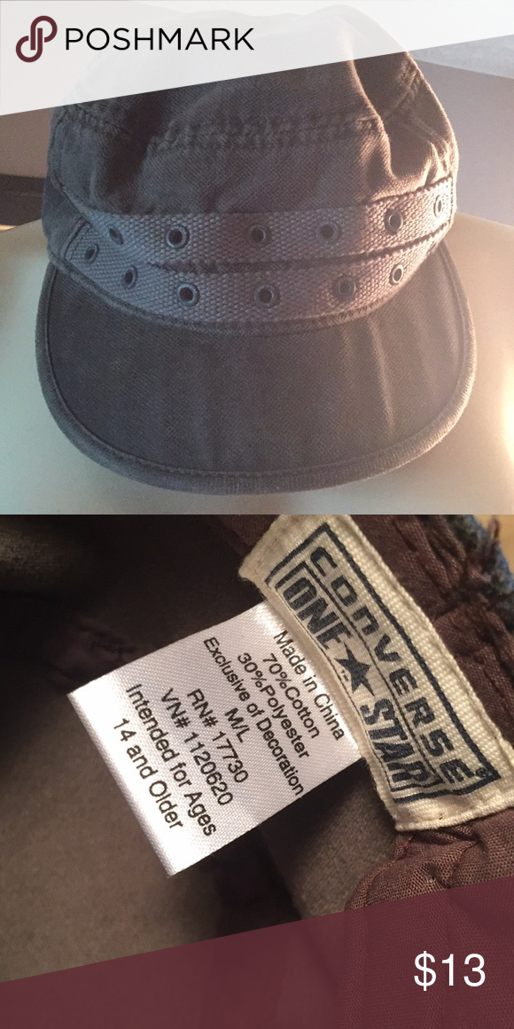 81b2db8fbb1 Olive Converse grommet hat Very cute! Worn a few times It s actually a very  dark olive green. I took the first pick in the light so you could see all  the ...