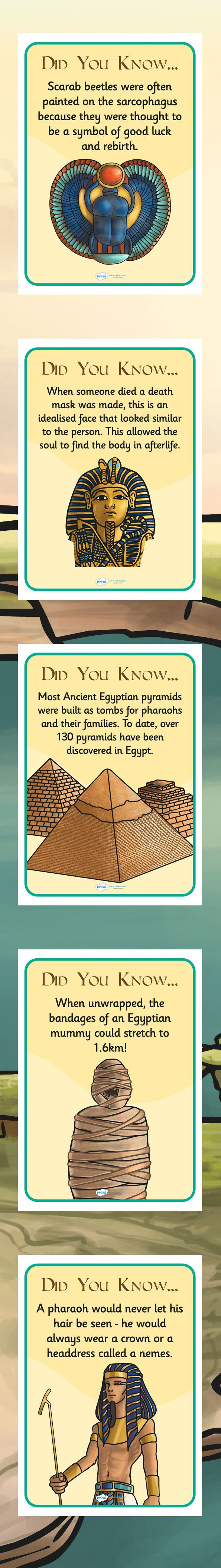 KS2 Ancient Egypt- Fun Facts Posters | Egypt history ...